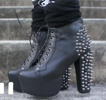 JOJO 456 3 women's Boots thick heel boots sexy high heeled pumps  Lace Up Stud Spike Punk Block High Heels Ankle Boots Shoes-inBoots from Shoes on Aliexpress.com