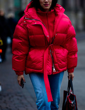 jacket,tumblr,red jacket,puffer jacket,oversized jacket,oversized,sweater,red sweater,jeans,denim,blue jeans,bag,red bag,fashion week 2017,streetstyle