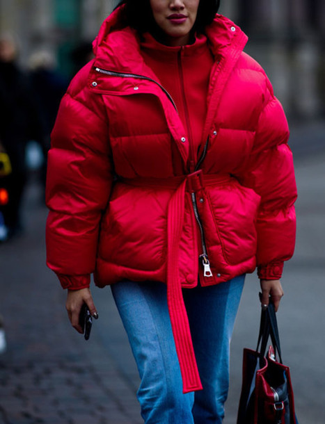 jacket tumblr red jacket puffer jacket oversized jacket oversized sweater red sweater jeans denim blue jeans bag red bag fashion week 2017 streetstyle