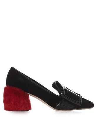 heel fur loafers velvet black red shoes