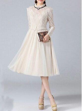 www.ustrendy.com off white dress beige dress flowy skirt vintage style dress high collar net yarn net yarn lace peplum waist antique dress