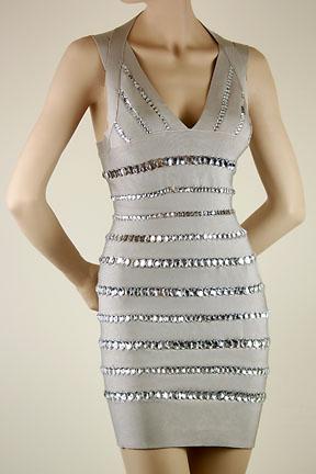 Deja Boutique. Amy crystal grey v bandage dress