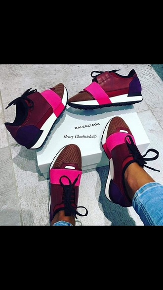 shoes balenciaga pink low top sneakers burgundy sneakers