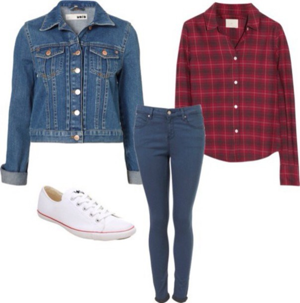 blouse jean jacket ? jean jackets red