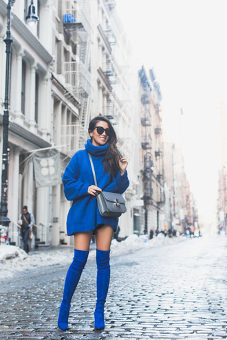 wendy's lookbook blogger sweater shorts shoes sunglasses jewels sweater dress oversized sweater turtleneck sweater blue sweater boots thigh high boots over the knee boots
