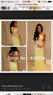 dress,prom dress,yellow lace