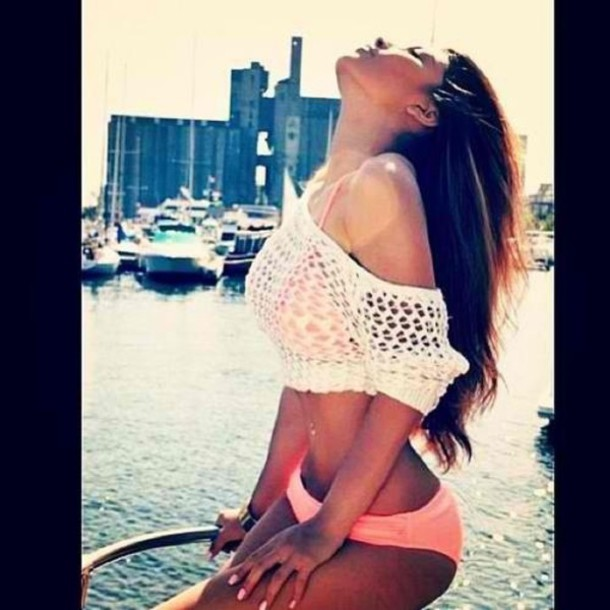 blouse crop tops crochet bikini swimwear white coral crochet top