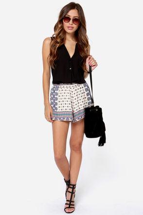 Cute Print Shorts - Ivory Shorts - Scarf Print Shorts - $34.00