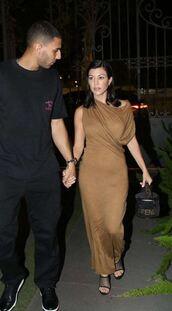dress,camel,maxi dress,maxi,celebrity,kourtney kardashian style,kourtney kardashian
