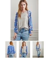 jacket,blue,embroidered,floral kimono