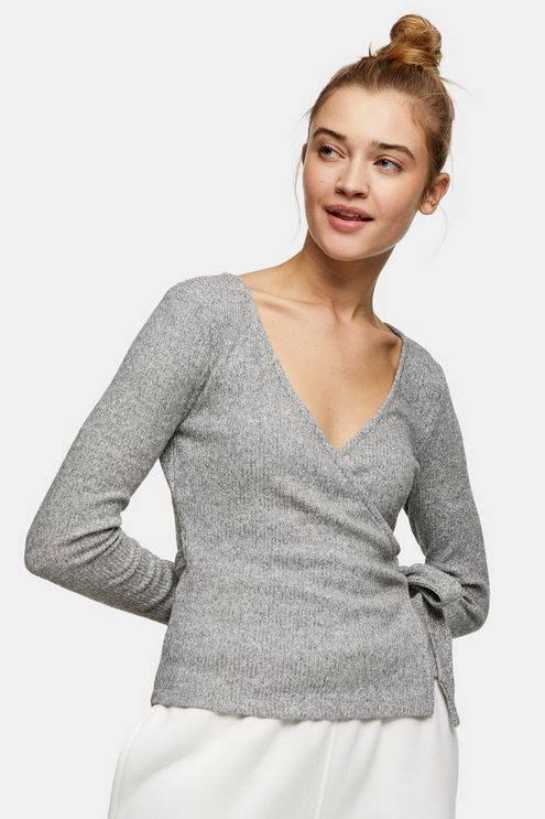 Grey Brushed Ribbed Long Sleeve Wrap Top - Grey