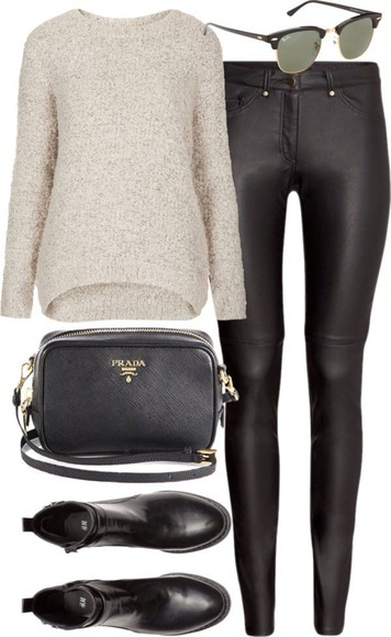 prada sweater shoes sunglasses leather pants leather pants