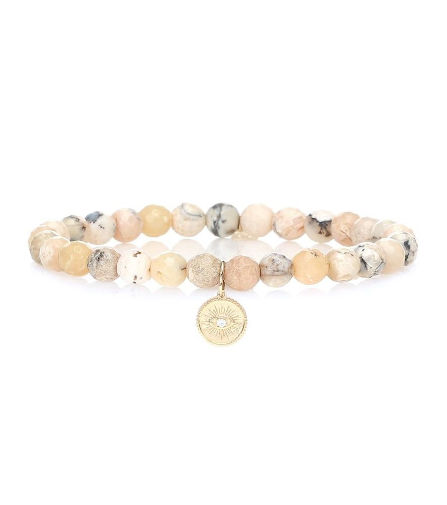 Exclusive to Mytheresa – Marquis Eye beaded feldspar bracelet with a 14kt gold and diamond charm