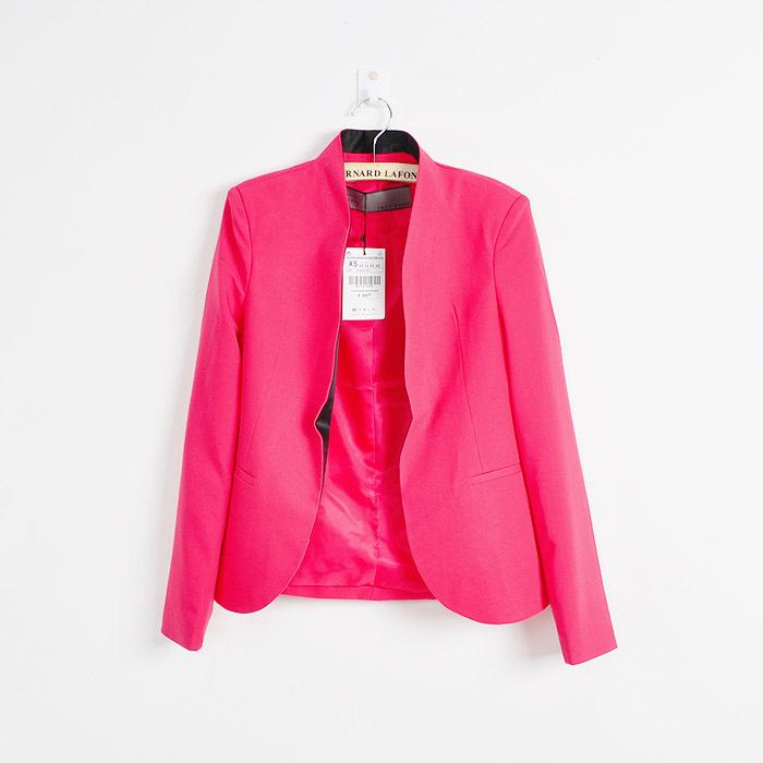 Women black stand collar open chest blazer suit jacket