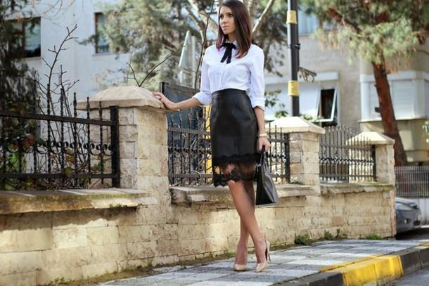 rana demir blogger shirt leather skirt black skirt skirt shoes bag sunglasses jewels