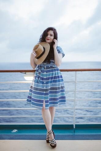 noelles favorite things blogger hat striped dress midi dress retro sandals shirt dress shoes