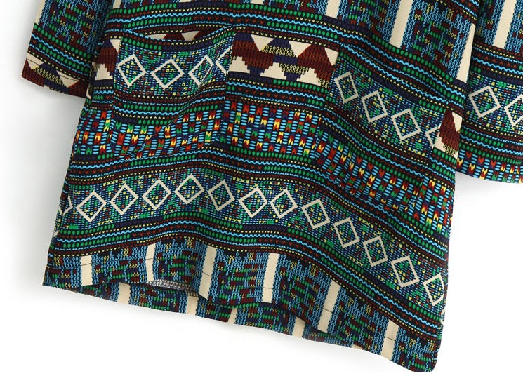 Green Long Sleeve Tribal Pattern Straight Dress - Sheinside.com