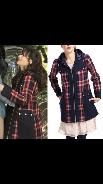 coat jess day new girl zooey deschanel