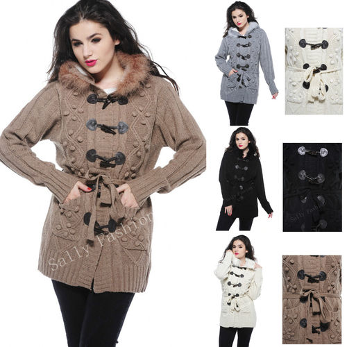 Coat Knitwear Thick Winter Fur Hooded Cardigan PomPom Loose Sweater Toggle 8-14 | Amazing Shoes UK