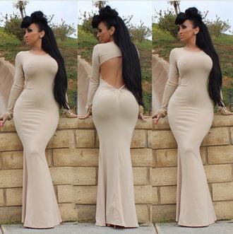 dress nude mermaid dress bodycon dress backless dress sexy dress 2015 trends elegant dress cut out back dress