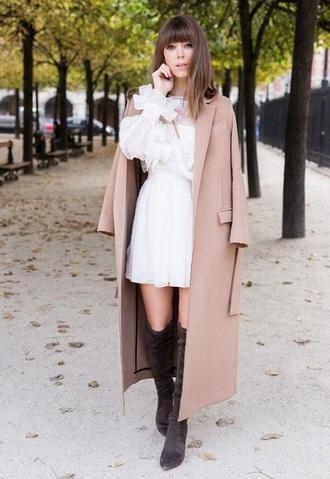 coat white ruffle dress knee high boots brown coat blogger