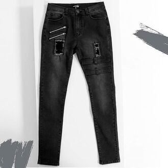 jeans maniere de voir stonewash grey black denim two strap zipped patch pockets