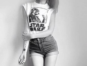 t-shirt,star wars,black and white,shorts,denim shorts,temporary tattoo,High waisted shorts,forever 21,shirt