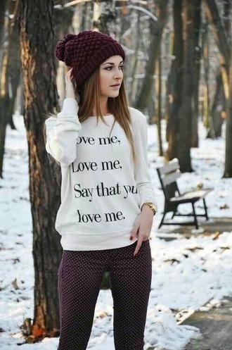 sweater sweatshirt black white quote love me love me love say that you love me love black quote quote on it