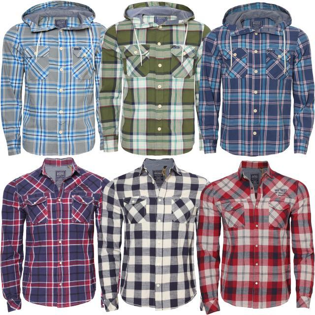 Mens AMBROSE long sleeved hooded & collar shirts 6 variation | eBay