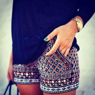 shorts beaded colorful shorts cute shorts zara embellished