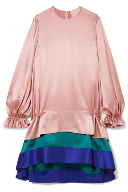 Roksanda dress satin dress pastel silk pink satin pastel pink