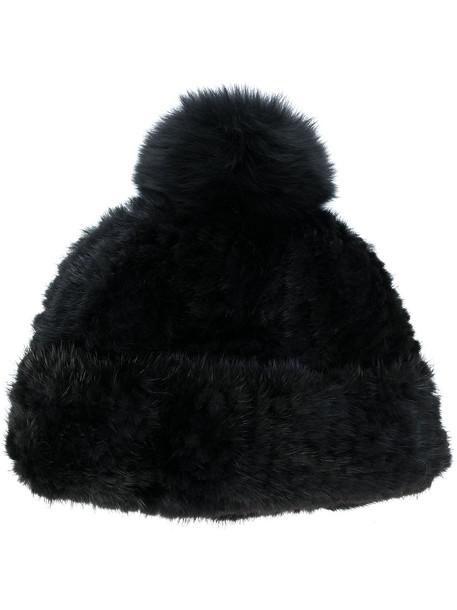 fur fox beanie black hat