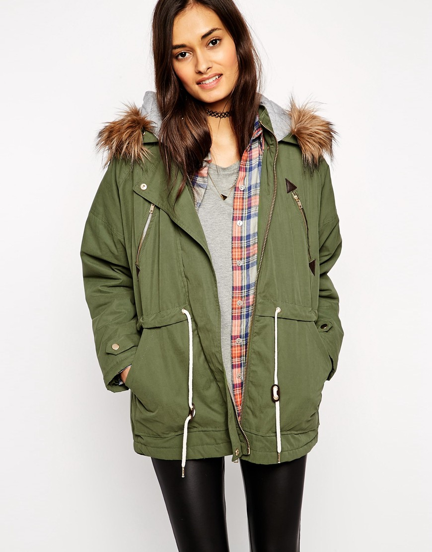 Asos parka with batwing sleeve and jersey liner at asos.com