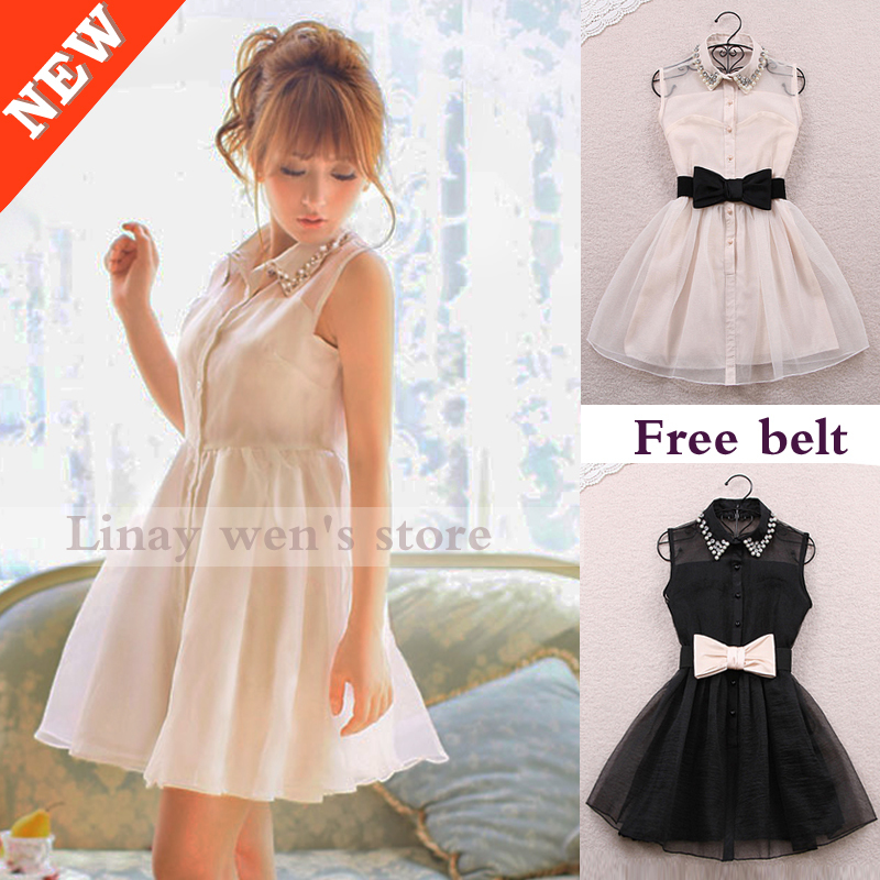 2014 winter dress pearl diamond lapel sleeveless chiffon Slim korean style gauze  Black designer dresses beige tutu Belt Free-in Dresses from Apparel & Accessories on Aliexpress.com