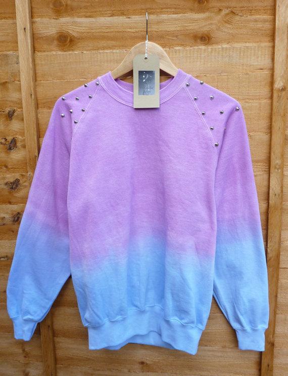 Pink and blue dip tie dye studded sweater shirt summmer pastels fashion jumper spike shoulders oversize vintage