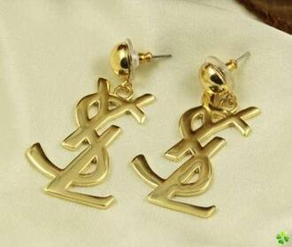 jewels yves saint laurent earrings gold