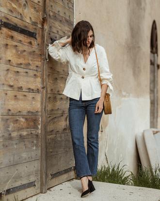 blouse white blouse zara blouse zara jeans denim bag shoes black shoes black heels white top