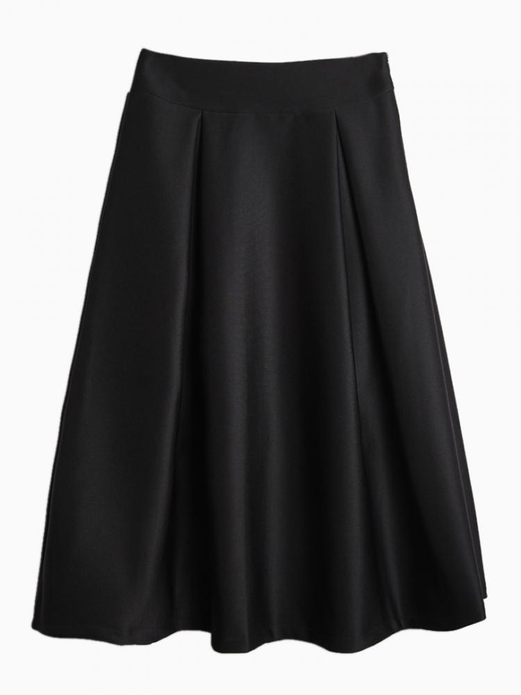 Black Midi Pleated Skirt | Choies