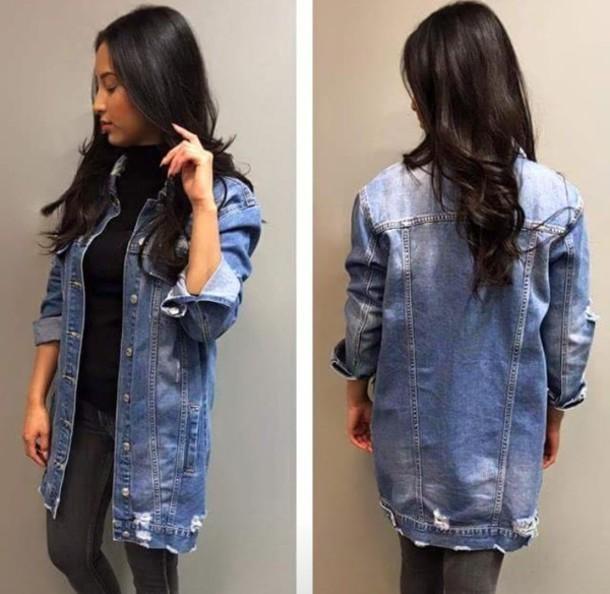 Jacket denim jacket denim fashion tumblr outfit blue long long jacket - Wheretoget