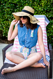 champagne&citylights,blogger,swimwear,hat,sunglasses,sun hat,denim top,spring outfits