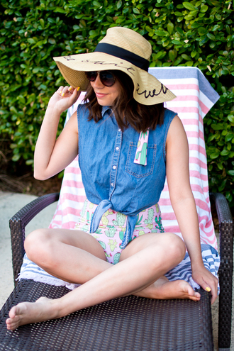 champagne&citylights blogger swimwear hat sunglasses sun hat denim top spring outfits