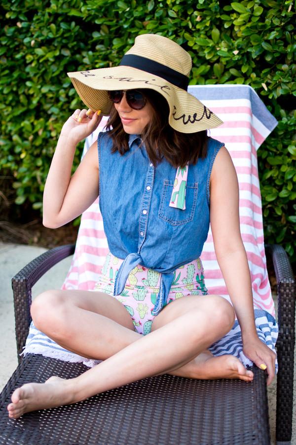 1e65f14d14f89 champagne citylights blogger swimwear hat sunglasses sun hat denim top  spring outfits.