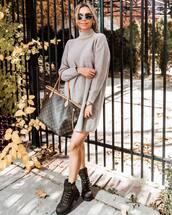 dress,sweater,sweater dress,turtleneck dress,knitted dress,mini dress,boots,shoulder bag,sunglasses,earrings