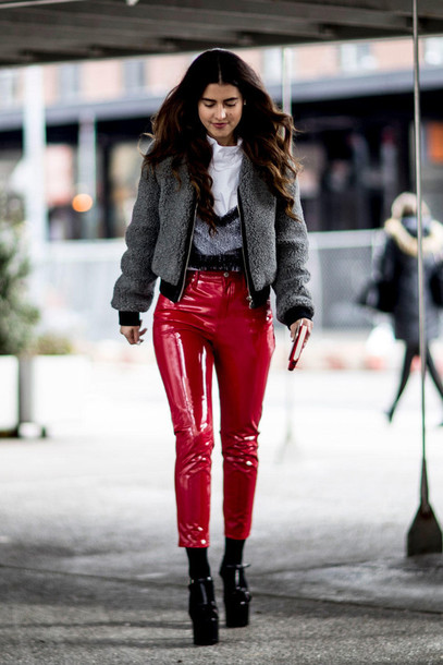 e727ccbdc2c2a2 pants nyfw 2017 fashion week 2017 fashion week streetstyle leather pants  red pants vinyl top black
