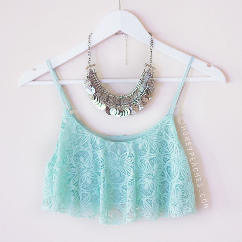 Minty-Licious Frill Lace Crop Top – Honey Peaches