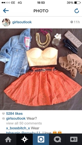 skirt coral pink skater skirt summer outfits high waist skirts white bustier bralette brown belt denim jacket