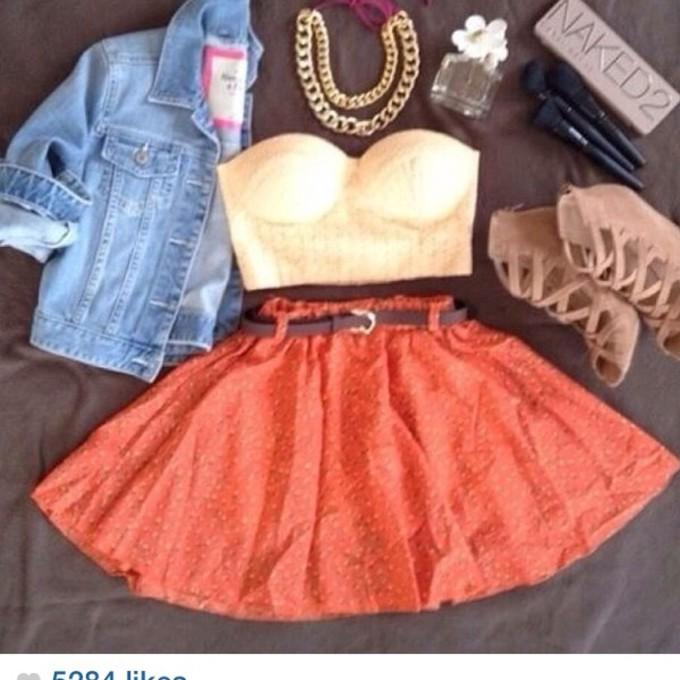 Coral Skater Skirt Outfit Coral Pink Skirt Bralet Skater