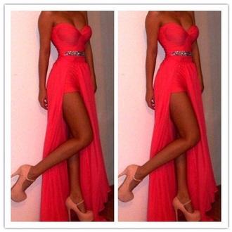 dress sweetheart neckline coral