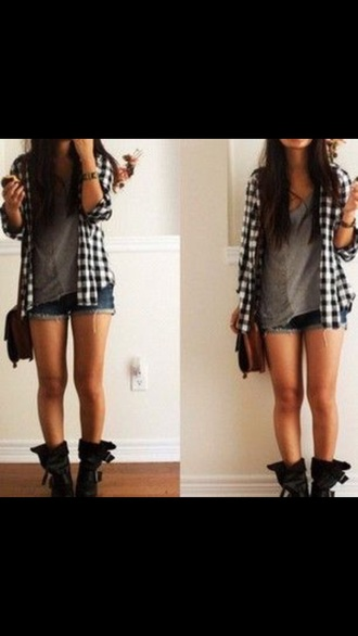 shorts summer t-shirt shoes shirt plaid jeans denim shorts plaid shirt grey sweater grey t-shirt cute top boots little black boots summer top style bag jacket boho chic boho shirt indie fashion black top light blue jeans
