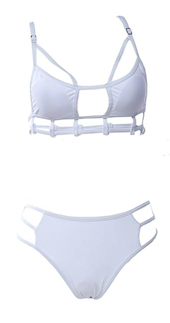 Raw Glitter | Max Cut Out Sexy Strappy Bikini - Black or White